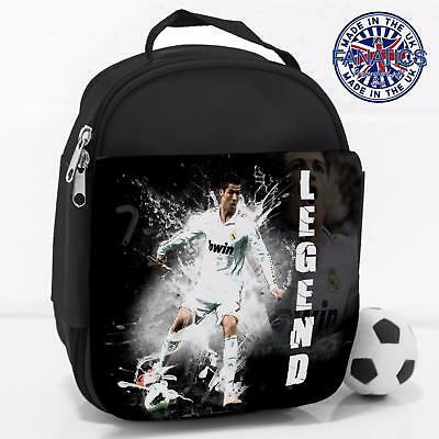 Boys School Lunch Bag Ronaldo Madrid Legend Football Insulated Cool Box LG04