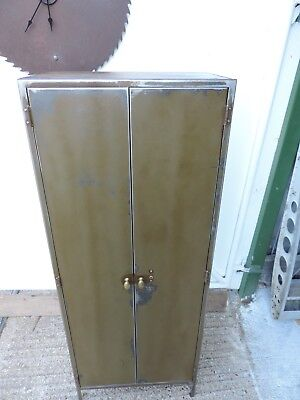 vintage industrial office filing storage cabinet polished steel metal wardrobe