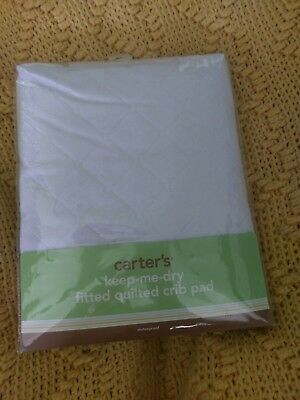 Carters Keep Me Dry Waterproof Layer Quilted Fitted Crib Pad, White nip new baby