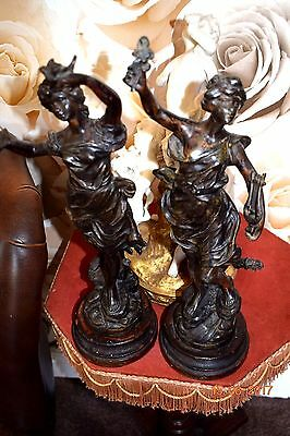French Antique Pair Bronzed  Spelter  Art Nouveau  Figures Signed
