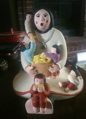 Storyteller pottery woman,with 7 kids basket of corn on the cob