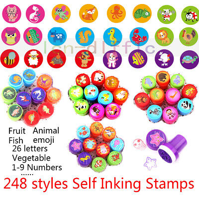 248 Pattern Kids Self Inking Stamp Seal Toy Rubber School Office Kid Child Gift