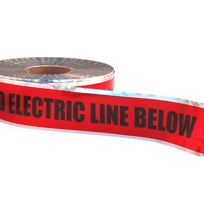 "3"" x 1000' DETECTABLE UNDERGROUND TAPE CAUTION BURIED ELECTRIC LINE BELOW Red"