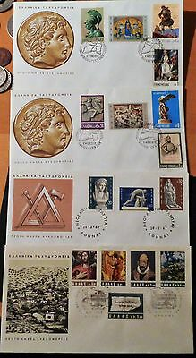 Grece Lot Courriers Timbres Fdc