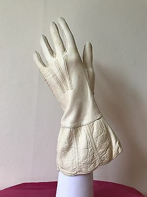 Vintage 20s Art Deco Gauntlet Gloves Cream Kid Leather 1920s French Hand Made