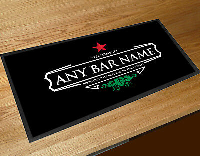 Personalised with your name Welcome Red star beer Label bar runner Mat