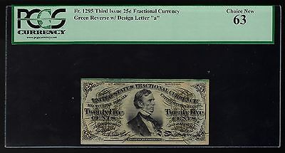US 25c Fractional Currency Note 'a' FR 1295 PCGS 63 Ch CU