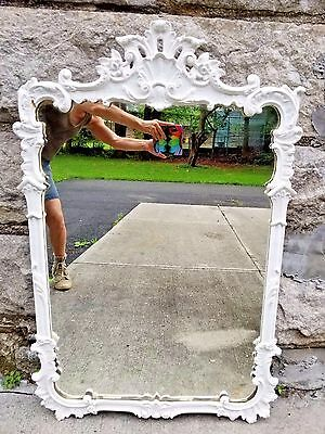 Antique Italian Wood Hand Carved White Painted Large Vertical Mirror