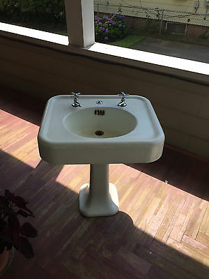 Vtg Antique Standard Cast Iron  Pedestal Sink