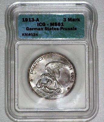 Icg Ms 61 Unc. 1913A German States Prussia Eagle Drei 3 Mark Germany Silver Coin