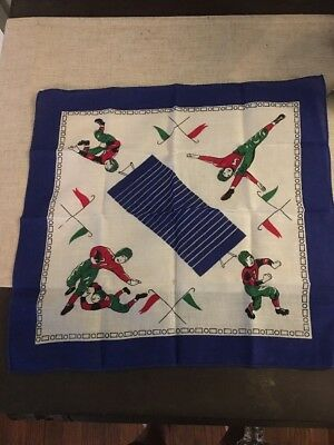 Vintage Football Print Scarf // Pocket Square- Excellent Condition