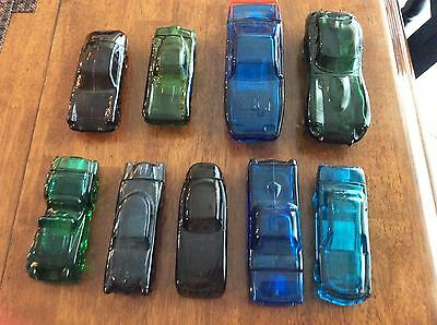 Lot Of 9- Collectible Avon Glass Cars  Vintage Decanter Car Shaped Bottles