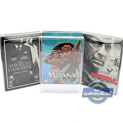 5 x DVD Steelbook & Slip Cover Box Protectors Strong 0.4mm Plastic Display Case