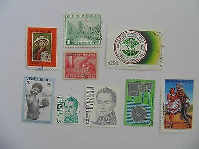 L1828 - Mixed Venezuela, Bolivia & Chile Stamps
