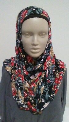 Black floral cotton jersey instant amira wrap shawl hijab