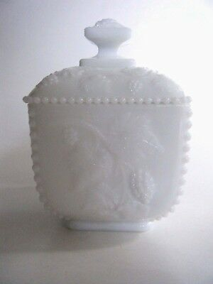 Westmoreland Milk Glass Beaded Grape Square Covered Box Dish