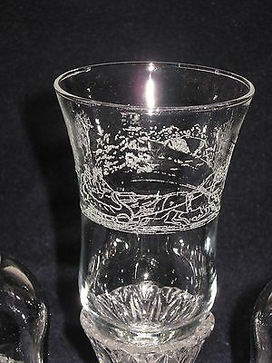 2 Homco/home Interior Frosted Winter Scene Sleigh Ride Glass Candle Votive Cups
