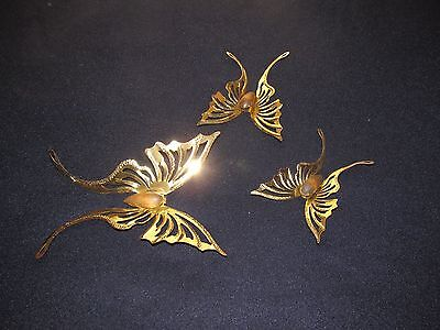 3 Metal Wood Homco Home Interior Butterflies Accent Wall Hanging