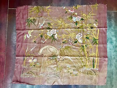 Beautiful Hand-Sewn Qing Dynasty Silk Flowers and Birds and Crane