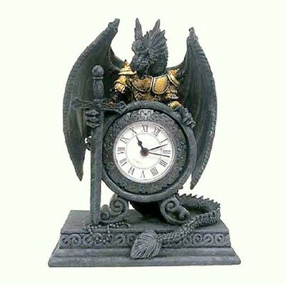 Gothic Dragon In Armour Sword Desk Table Shelf Mantle Clock Timer Ornament Drg28