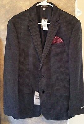 Express Men's Blazer Black Houndstooth Contrast Sleeves Size 38R New with Tags