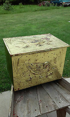 Brass Clad Foot Locker Storage Trunk Mallard Mom & Chicks Mid Century Hunting