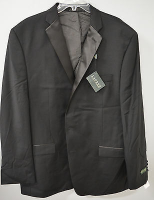 NWT Ralph Lauren Mens Black Tuxedo 2 Button Coat Blazer Jacket 48R 100% Wool