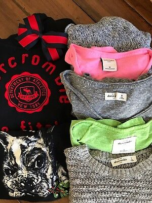 Abercrombie and Fitch Girls Size S,M,L Lot 3SS & 1LS Shirt 2Sweaters 1Sweatshirt