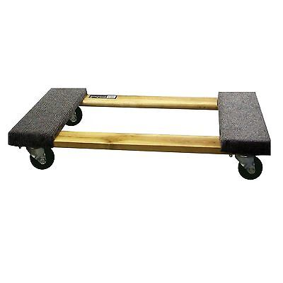1,000 Pound Capacity Furniture Dolly Wood Base Carpeted Pads 3-inch Wheels