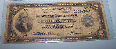 1918 $2.00 BATTLESHIP Federal Reserve Bank Note  V.G. condition