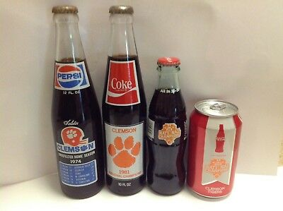 Clemson Pepsi Coke Coca Bottles And Cans 1974, 1981, 2017 National Champions