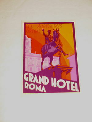 Grand Hotel Roma Rome Italy Vintage Luggage Label