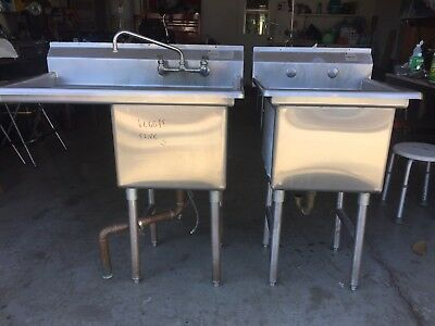 Two Commercial Stainless Steel Sinks