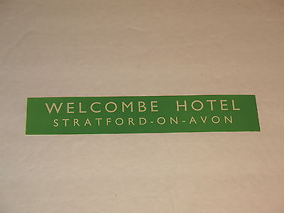 Welcombe Hotel Stratford-On-Avon Vintage Luggage Label