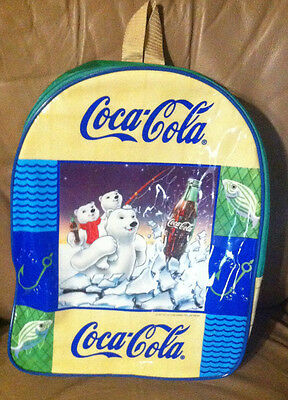 Coca Cola... plastic backpack... Polar Bear.. fishing scene ..