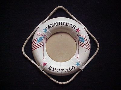 LIFE PRESERVER PAINTED WOOD PHOTO FRAME WWII Liberty Ship S.S. GOODYEAR, BUFFALO