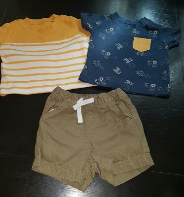 baby boys 0-3 months t-shirt top & shorts summer holiday bundle outfit cars next