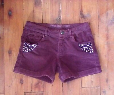 Girls 9 to 10 yrs marone cord shorts with elastic adjustable waist like new