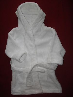 Baby Girls White Dressing Gown Robe - Size 12-18 Months