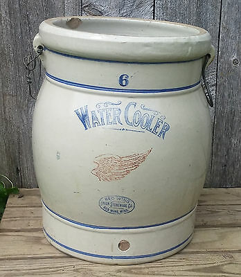 Antique Vintage 6 Gallon Red Wing Stoneware Water Cooler