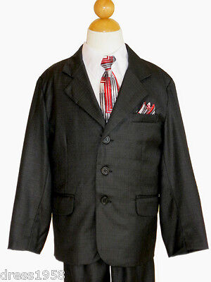 BOYS RECITAL, PARTY, EASTER  SUIT SETS , CHARCOAL/WHITE, SIZE: 5 (5 Years)