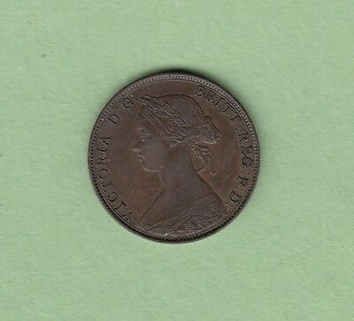 1861 Great Britain 1/2 Penny Coin - Queen Victoria - EF
