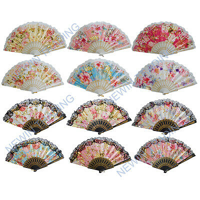 12pcs Hand Fan Chinese Fabric Embroidery Flower Foil Gold Summer GIFT US Seller