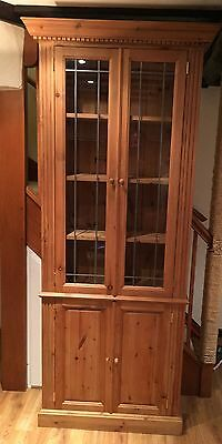 Glazed Pine bookcase with Cupboard