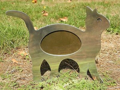 """Cat Picture Frame Aluminum Oval Pet Photo Stand Alone 12 1/2"""" X 11 1/2"""" X 1/8"""""""