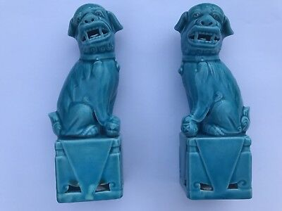Pair Of Chinese Blue Foo Dogs - Lovely Items