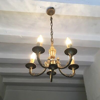 Vintage French Petite Brass Empire Style Chandelier 5 Arm Ornate Ceiling Light
