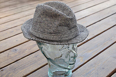 c9a7d46e11f Vintage Tweed Men s Hipster Country Gentleman Walking Hat Black White Tan  Medium
