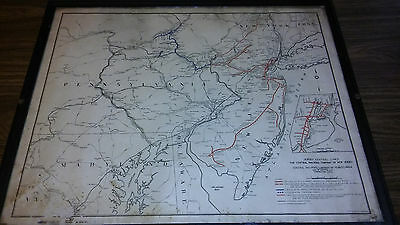 Old Vintage Jersey Central Lines Railroad Company Map In Frame Pa Ny Nj
