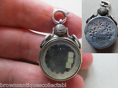 Antique Victorian English Sterling Silver Rare Gambling Dice Fob Charm Pendant